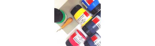 Linoleum Druck Farben