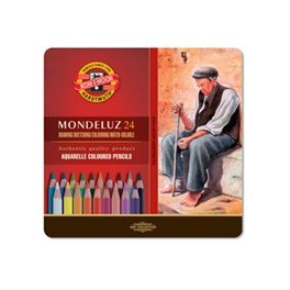 Mondeluz Watercolour Pencils Set 24 colours, metal case
